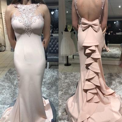 Luxury Column Sheer Straps Bowknot Ruffles Elegant Mermaid Prom Dersses_3