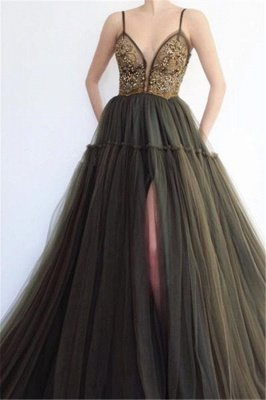 Sexy Side Slit Spaghetti Straps Tulle Affordable Evening Dress UKes UK UK_1