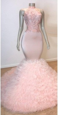 Sweet Pink Halter Sleeveless Elegant Trumpt Prom Dress UKes UK UK | Chic Open Back Lace Tulle Evening Dress UKes UK_2