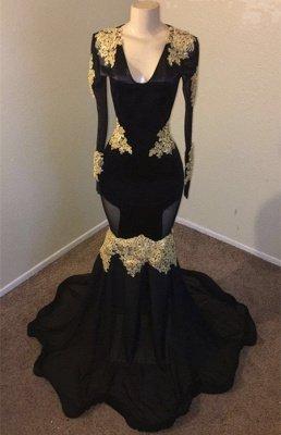 Timeless Black Elegant Mermaid V-neck with Sleeves Gold Appliques Evening Dress UK_2