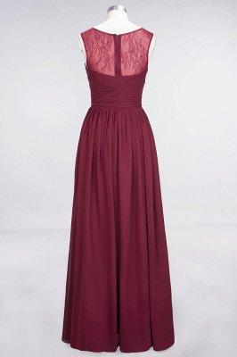 A-Line Chiffon Tulle Lace Scoop Sleeveless Long Bridesmaid Dress UK with Ruffle_2