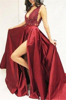 Burgundy Maroon A-line Sleeveless Sexy V-Neck Applique Side Slit Prom Dress UKes UK UK_1