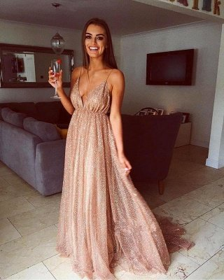 Simple Sequins A-Line Long Prom Gowns | Spaghetti Straps V-Neck Evening Dress UK_2