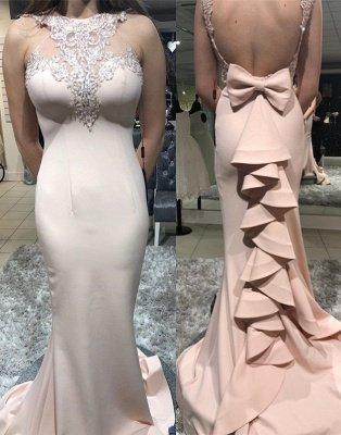 Luxury Column Sheer Straps Bowknot Ruffles Elegant Mermaid Prom Dersses_2