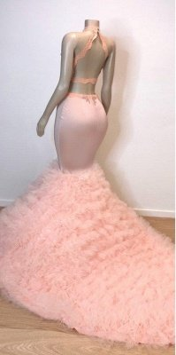 Sweet Pink Halter Sleeveless Elegant Trumpt Prom Dress UKes UK UK | Chic Open Back Lace Tulle Evening Dress UKes UK_3