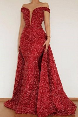 Burgundy Maroon Amazing Elegant Mermaid Off The Shoulder Lace Appliques Prom Dress UK With Detachable Skirt_1