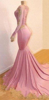 Sweet Pink Lace Appliques Long Sleeves Prom Dress UKes UK UK | Luxury Elegant Trumpt Evening Dress UKes UK_4