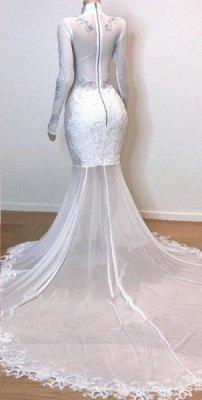 White Stunning Lace Long Sleeves Prom Dress UKes UK UK | Sheer Tulle Slit Elegant Trumpt Evening Dress UKes UK_3