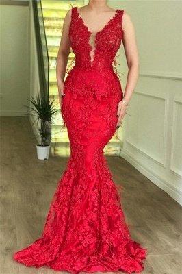 Elegant red Elegant Mermaid Sleeveless Lace Appliques Evenging Dress UKes UK_2