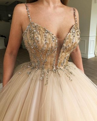 Sexy Ball Gown Spaghetti Straps Sleeveless Beads Champagne Bridal Gowns_2