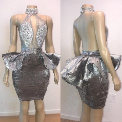 Halter Keyhole Neckline Lace Appliqued Short Prom Dress UKes UK UK_3