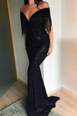 Off The Shoulder Sequins Elegant Trumpt Prom Dress UKes UK UK | Sexy Timeless black Tassels Strapless Evening Dress UKes UK_1