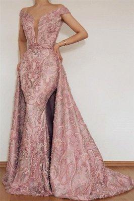 Luxury Elegant Mermaid Off The Shoulder Applique Long Pink Affordable Evening Dress UKes UK UK With Detachable Skirt_1