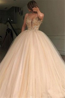 Amazing Ball Gown Spaghetti Straps Beads Prom Dress UKes UK UK_1