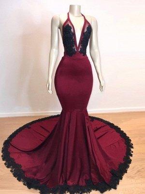 Wine Red Maroon V-neck Halter Lace Appliques Long Elegant Trumpt Evening Dress UKes UK_3