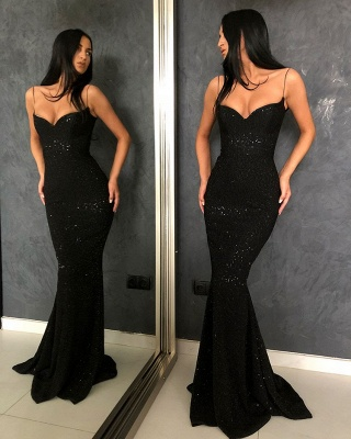 Timeless Black Column Spaghetti Straps Open Back Sequin Prom Dress UKes UK UK_3