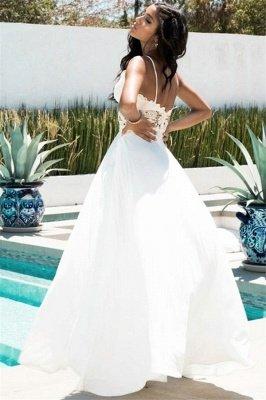 Simple Spaghetti-Straps Side-Slit Prom Dress UKes UK UK | White A-Line Open-Back Evening Dress UKes UK_2