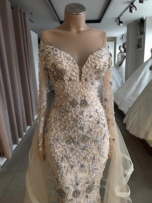Luxury Long sleeve off-the-shoulder prom Dress UK with fully-covered beads_3