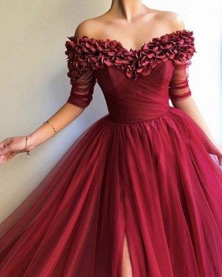 Burgundy Maroon A-line Off The Shoulder Tulle Flower Applique Prom Dress UKes UK UK_4
