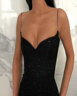 Timeless Black Column Spaghetti Straps Open Back Sequin Prom Dress UKes UK UK_2