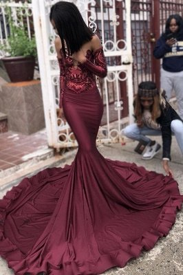 Elegant Wine Red Maroon Sequins Elegant Trumpt Prom Dress UKes UK UK | Sexy Long Sleeves Evening Dress UKes UK On Sale_3