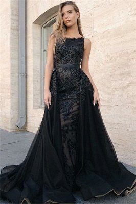 Sexy Elegant Trumpt Sleeveless Evening Dress UKes UK | Timeless black Lace Appliques Lace Overskirt Prom Dress UKes UK UK 2019_1