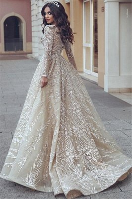 Elegant Long Sleeve Evening Dresses UK   Appliques V-neck New Arrival Prom Dresses_3