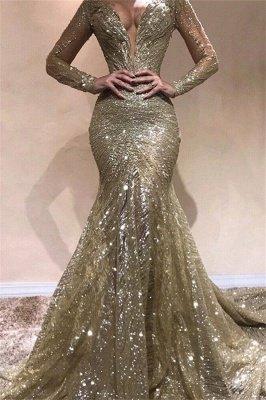 Sexy Elegant Mermaid Sexy V-Neck Long Sleeves Sequin Prom Dress UKes UK UK_1
