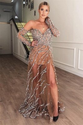 Luxury A-Line Sweetheart Off The Shoulder Sparkly Crystal Lace Appliques Tulle Prom Dress UKes UK UK_1