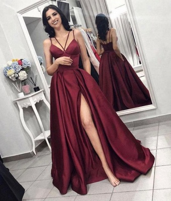 Elegant Sleeveless Front Split Prom Gown | Wine Red Maroon Spaghetti-Straps A-Line Evening Dress UK_2