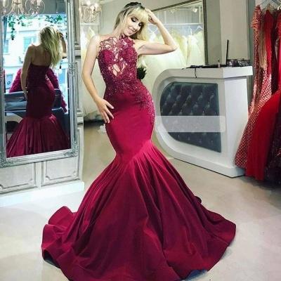 Burgundy Maroon Luxury Sheer Straps Applique Elegant Mermaid Prom Dress UKes UK UK_2
