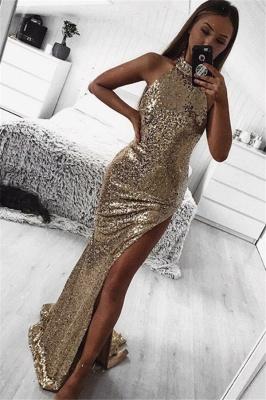 Gold Column Halter Sleeveless Side Slit Sequin Elegant Prom Dress UKes UK UK_1