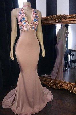 Sweet Pink Florals Lace Appliques Elegant Trumpt Long Prom Dress UKes UK UK   Simple Sleeveless V-Neck Evening Dress UKes UK_1