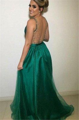 Gormeous Sexy V-Neck Sleeveless A-Line Tulle Beading Prom Dress UKes UK UK_2