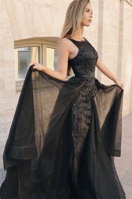 Sexy Elegant Trumpt Sleeveless Evening Dress UKes UK | Timeless black Lace Appliques Lace Overskirt Prom Dress UKes UK UK 2019_2