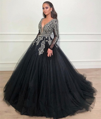 Timeless Black Ball Gown Seductive Deep Sexy V-Neck Long Sleeves Lace Appliques Overskirt Affordable Evening Dress UKes UK UK_3