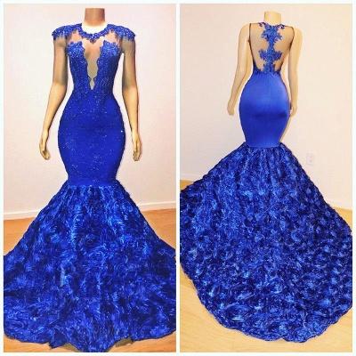 Royal-Blue Florals Elegant Trumpt Long Evening Dress UKes UK   Simple Sleeveless With Lace Appliques Prom Dress UKes UK UK_5