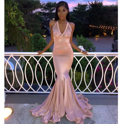Luxury Pink Halter Sexy V-Neck Sleeveless Flower Lace Appliques Prom Dress UKes UK UK_2