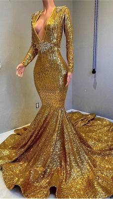 Luxury Elegant Trumpt Sequins Long Sleeves Floor Length Prom Dress UKes UK UK_2