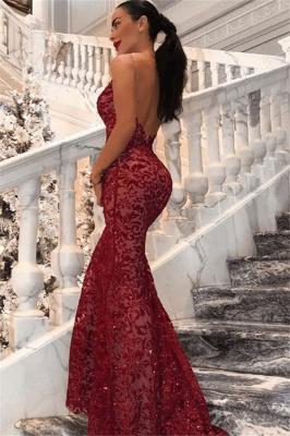 New Arrival Sexy V-Neck Lace Open Back Elegant Mermaid Prom Dress UKes UK UK_3