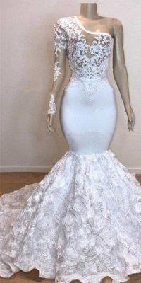 One Shoulder Lace Appliques Meramid Prom Dress UKes UK UK with sleeve_1