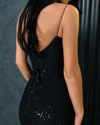 Timeless Black Column Spaghetti Straps Open Back Sequin Prom Dress UKes UK UK_4