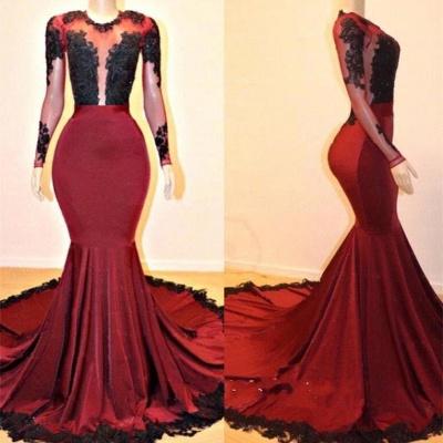 Long Sleeves Elegant Mermaid Lace Appliques Sheer Prom Dress UKes UK UK_3