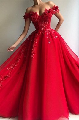 Amazing Ball Gown Off The Shoulder Applique Flowers Affordable Evening Dress UKes UK UK_1