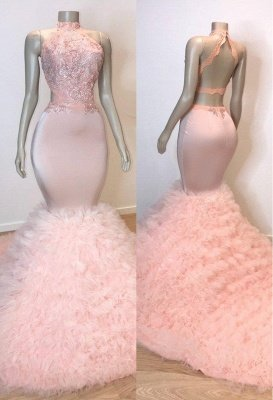 Sweet Pink Halter Sleeveless Elegant Trumpt Prom Dress UKes UK UK | Chic Open Back Lace Tulle Evening Dress UKes UK_1