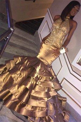 Amazing Gold Elegant Mermaid High Neck Sleeveless Ruffles Sparkly Crystal Prom Dress UKes UK UK_1