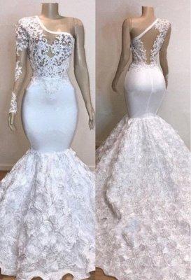 One Shoulder Lace Appliques Meramid Prom Dress UKes UK UK with sleeve_2
