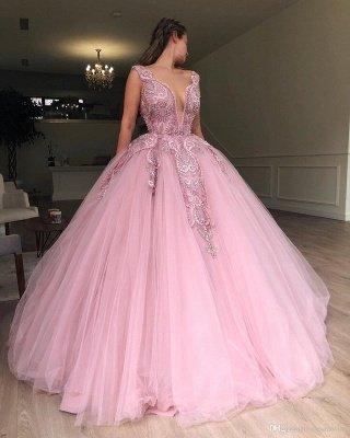 Amazing Pink Ball Gown Seductive Deep Sexy V-Neck Sleeveless Applique Affordable Evening Dress UKes UK UK_3