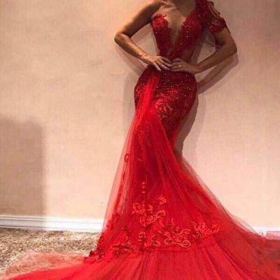 Luxury Elegant Mermaid One Shoulder Tulle Lace Appliques Prom Dress UKes UK UK_2