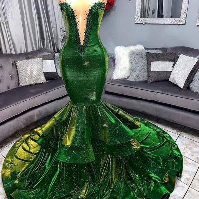 Green Luxury Ruffles Elegant Trumpt Prom Dress UKes UK UK | Elegant StraplessLace Appliques Long Evening Dress UKes UK_2